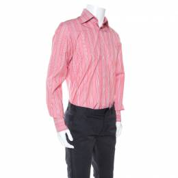 Tom Ford Red and White Striped Cotton Button Front Shirt M