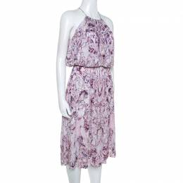 Alexander McQueen Lavender Marble Printed Ruched Halter Neck Dress S 245724