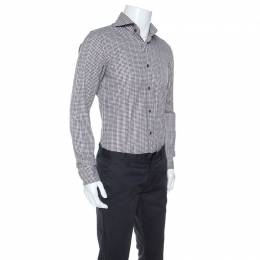 Tom Ford Brown & White Gingham Check Cotton Button Front Shirt M