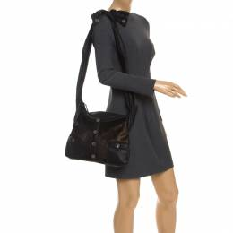 Chanel Black/Gold Leather and Calfhair Girl Bag 246178