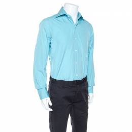 Tom Ford Turquoise Blue Pinpoint Cotton Classic Fit Shirt L 247161