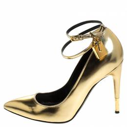 Tom Ford Gold Patent Leather Padlock Ankle Wrap Pointed Toe Pumps Size 39