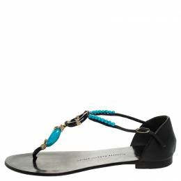 Giuseppe Zanotti Design	 Black Leather Turquoise Beaded Ankle Strap Thong Sandals Size 38.5 247694
