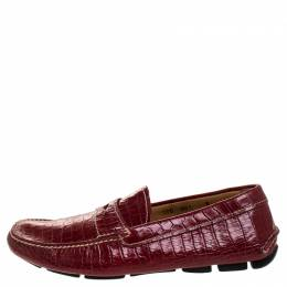 Prada Red Croc Embossed Leather Penny Loafers Size 40