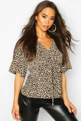 Knot Front Woven Leopard Blouse Boohoo FZZ74975-109-18