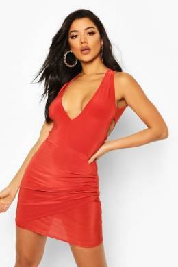 Double Lined Plunge Front Dress With Cut Out Boohoo FZZ73745-208-22