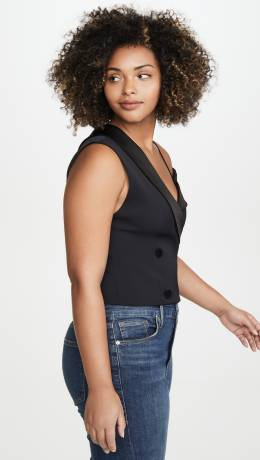 Alice+Olivia Taylor Double Breasted One Shoulder Top