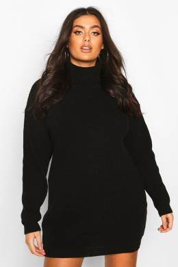 Plus Roll Neck Jumper Dress Boohoo PZZ67697-105-51