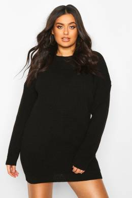 Plus Crew Neck Jumper Dress Boohoo PZZ67694-105-350