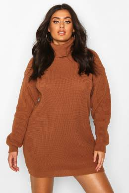 Plus Roll Neck Jumper Dress Boohoo PZZ67697-180-68