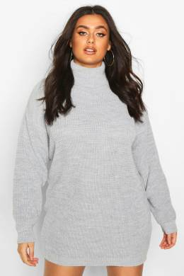 Plus Roll Neck Jumper Dress Boohoo PZZ67697-163-24