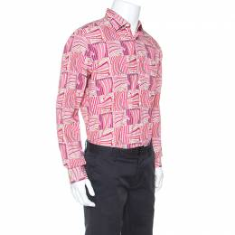 Salvatore Ferragamo	 Pink Sailboat Printed Cotton Derby Fit Shirt L