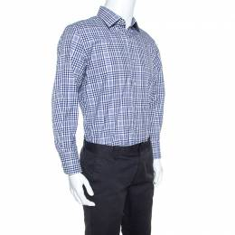 Tom Ford Navy Blue and White Checked Cotton Shirt XL