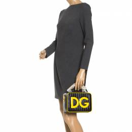 Dolce and Gabbana Black/Yellow Coated Canvas DG Girls Crossbody Bag