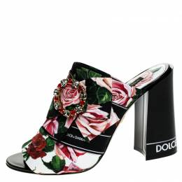 Dolce and Gabbana Multicolor Floral Printed Fabric Crystal Embellished Bow Open Toe Mules Size 37.5 249071