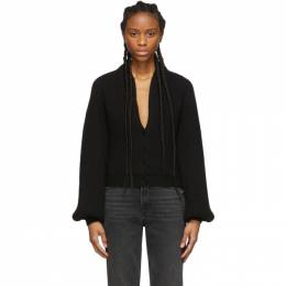 Alexander Wang Black Wool Draped Neck Cardigan 201187F09525402GB