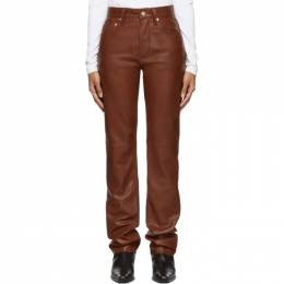 Helmut Lang Brown Leather Masc High Straight Trousers 201154F08410503GB