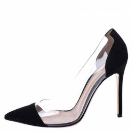 Gianvito Rossi Black Suede and PVC Plexi Pointed Toe Pumps Size 38 249171