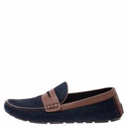 Louis Vuitton Blue Denim And Brown Leather Penny Loafers Size 43 249120