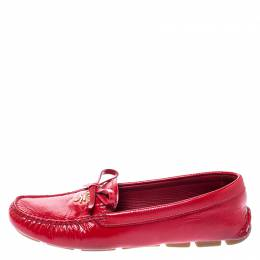 Prada Red Saffiano Patent Leather Bow Loafers Size 36.5