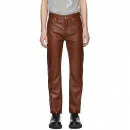 Helmut Lang Brown Raw Leather Masc Hi Straight Trousers 201154M18600505GB