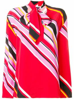 MSGM striped pussy bow blouse 2541MDM29A184663