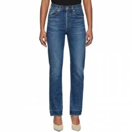 Citizens of Humanity Blue Charlotte High-Rise Straight Jeans 201030F06902005GB