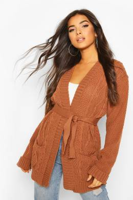 Cable Boyfriend Belted Cardigan Boohoo FZZ75200-169-33
