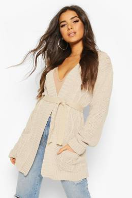 Cable Boyfriend Belted Cardigan Boohoo FZZ75200-165-31
