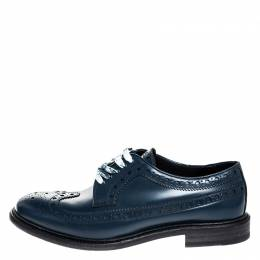 Burberry	 Blue Brogue Leather Alexton Lace Up Derby Size 41.5