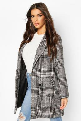 Check Oversized Boyfriend Wool Look Coat Boohoo FZZ72980-105-16