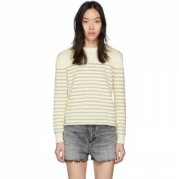 Saint Laurent White and Gold Lame Sailor Sweater 201418F09600802GB