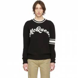 Alexander McQueen	 Black and Off-White Logo Varsity Sweater 201259M20101003GB