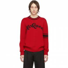 Alexander McQueen	 Red and Black Logo Varsity Sweater 201259M20100906GB