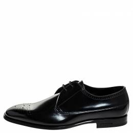 Burberry	 Black Leather Cranbook Wing Tip Lace Up Derby Size 40.5