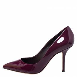 Dolce and Gabbana Burgundy Patent Leather Pointed Toe Pumps Size 40