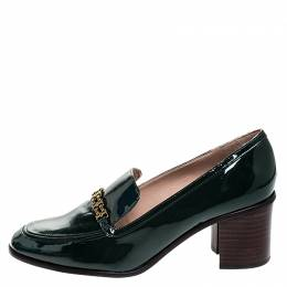 Tory Burch Green Patent Leather Gemini Link Loafer Pumps Size 39
