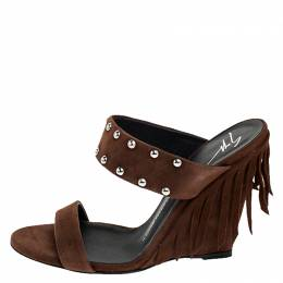 Giuseppe Zanotti Design	 Brown Studded Suede Taline Fringed Wedge Sandals Size 39 250322