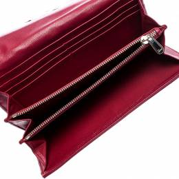 Dior Burgundy Quilted Cannage Satin Charming Lock Continental Wallet 249253