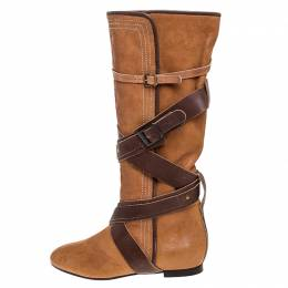Chloe Brown Leather Cross Strap Knee Length Boots Size 38.5 310748