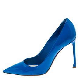 Dior Blue Patent Leather Pointed Toe Pumps Size 40