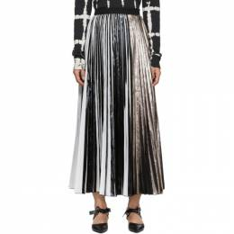 Proenza Schouler Black and Silver Foil Pleated Skirt SP1945000