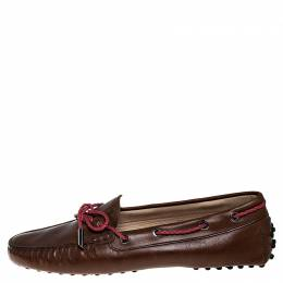 Tod's Brown Leather Gommino Driving Loafers Size 38 Tod's
