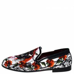 Dolce and Gabbana Multicolor Printed Canvas Amalfi Smoking Slippers Size 40