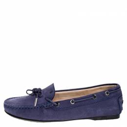 Tod's Purple Nububk Leather Bow Gommino Loafers Size 38.5