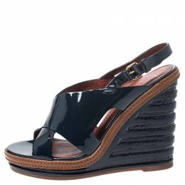Marc by Marc Jacobs Dark Blue Cross Patent Leather Wedge Sandals Size 37.5 251873