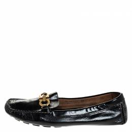 Salvatore Ferragamo	 Black Leather Gancio Bit Loafers Size 38.5