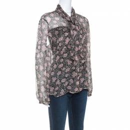 Giorgio Armani Black and Pink Floral Print Sheer Silk Blouse L 251796