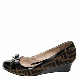 Fendi Black/Brown Zucca Canvas and Leather Bow Wedge Pumps Size 40