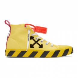 Off-White Yellow and Black Arrows Mid-Top Sneakers OMIA119S20D330386010
